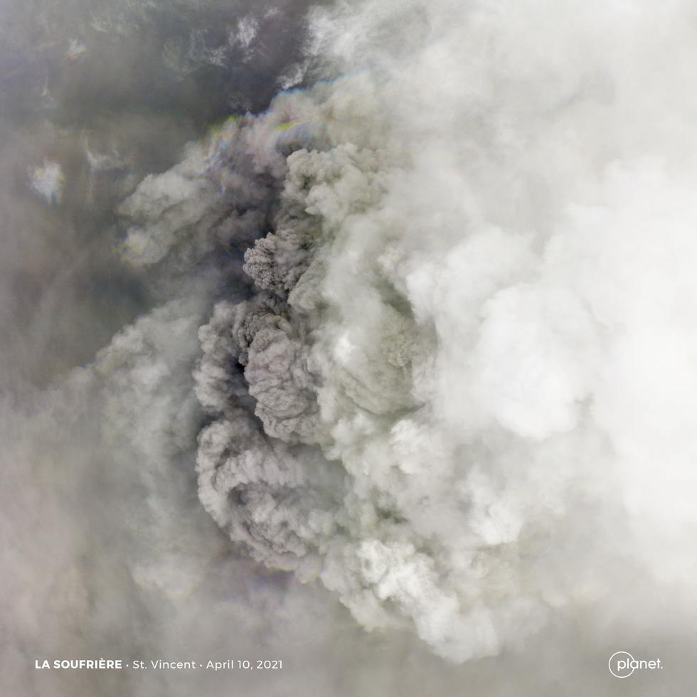 An explosive eruption from a volcano in Saint Vincent