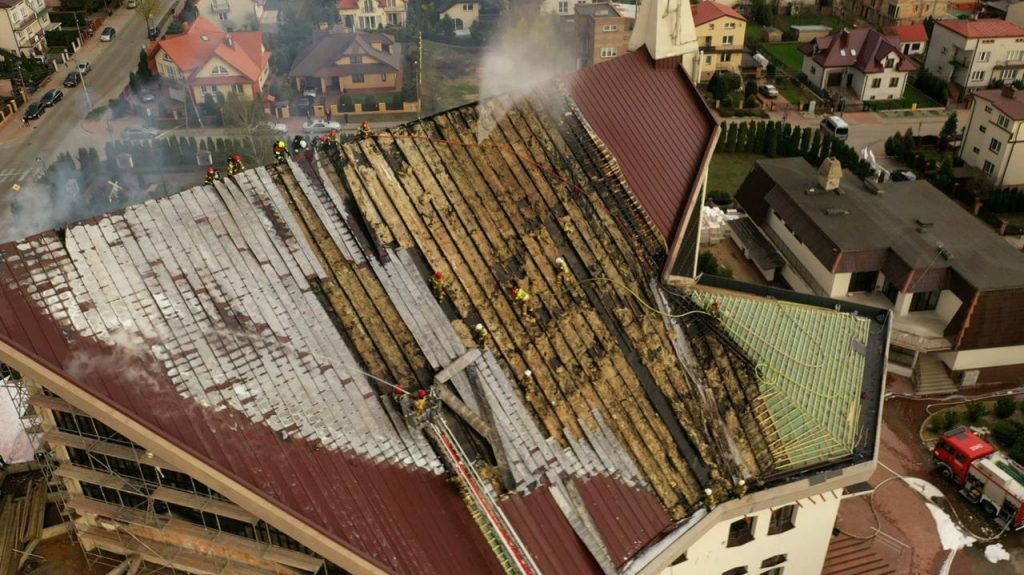 Białystok.  The roof of the church caught fire