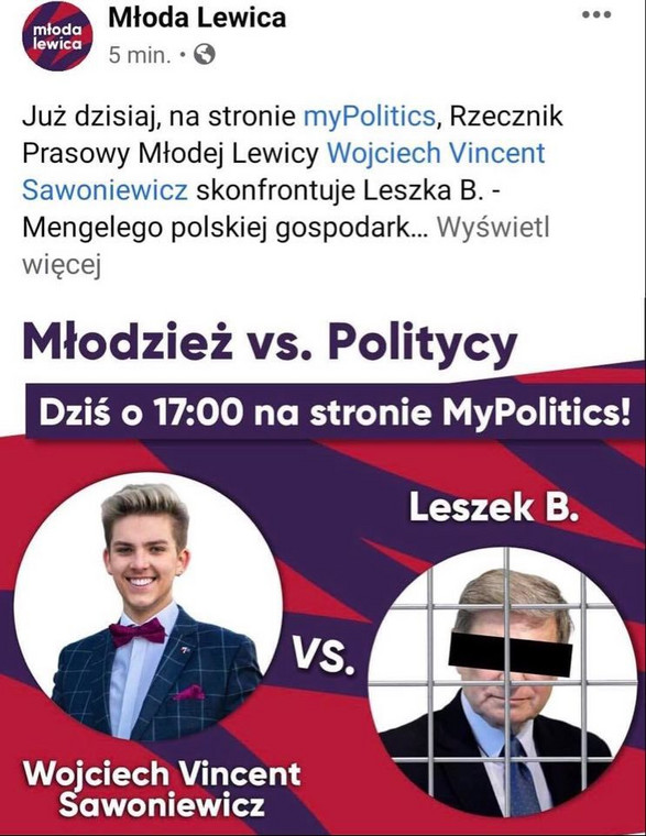 """Entry of young leftists on Facebook Fr. """"Lessek b.  - Mengel of the Polish economy"""" Quickly deleted"""
