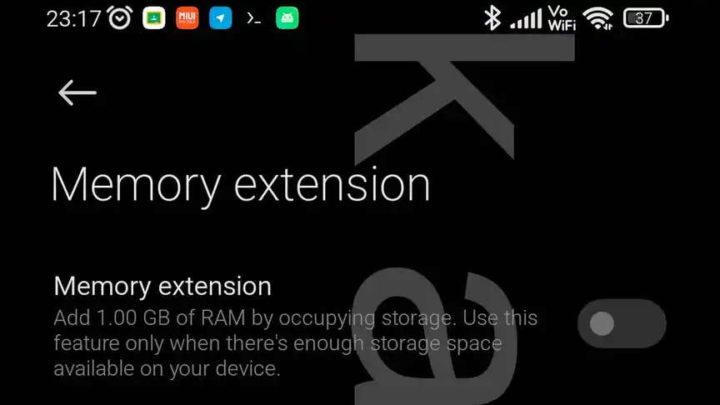 Xiaomi RAM Android memory storage