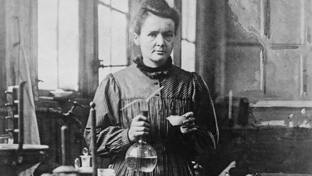 Marie Curie in the country of the flag