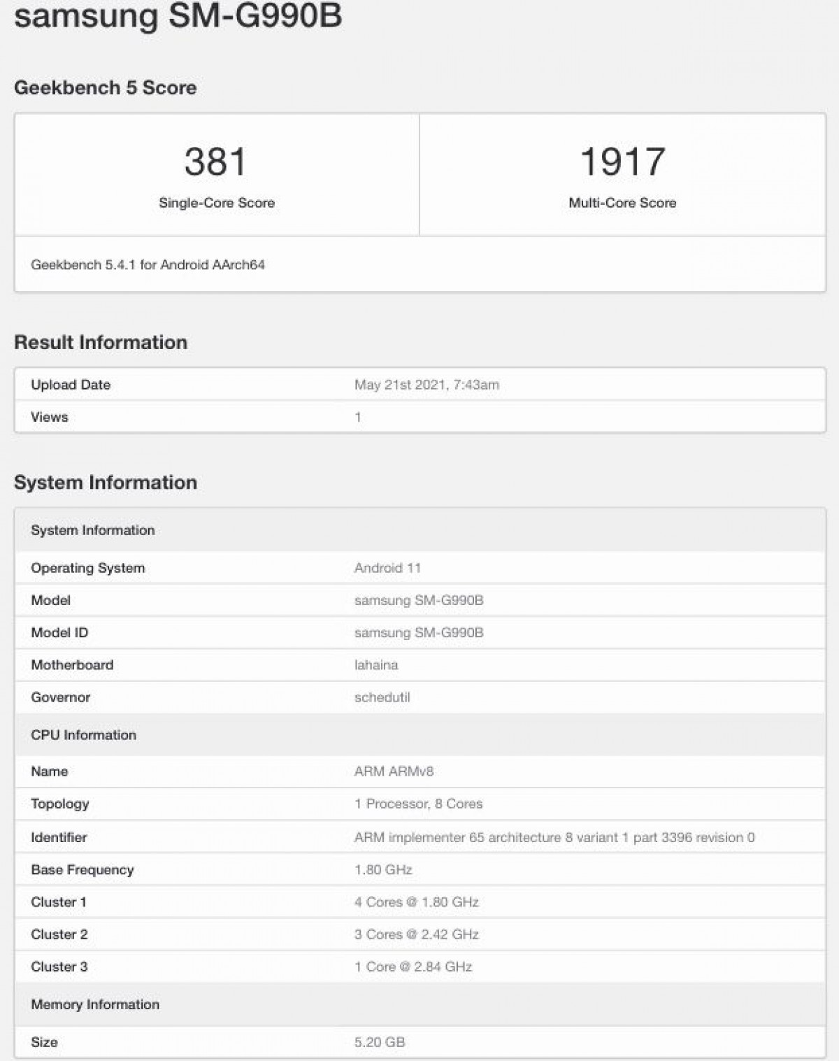 geekbench Android, geekbench, Samsung and Samsung Galaxy S21 FE