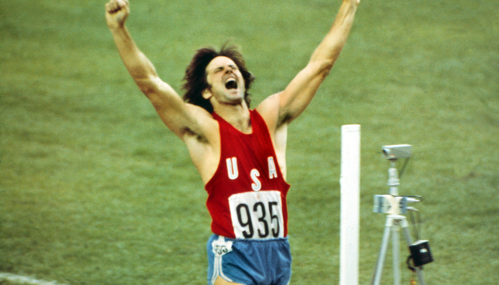 Olympiad victory: Bruce Jenner won the Tecamp men's race during the 1976 Montreal Olympic Games. Photo: Colorsport / Rex