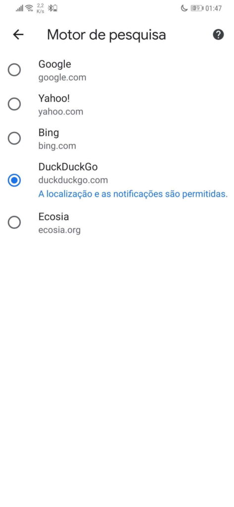 Google Chrome Android Search Engine
