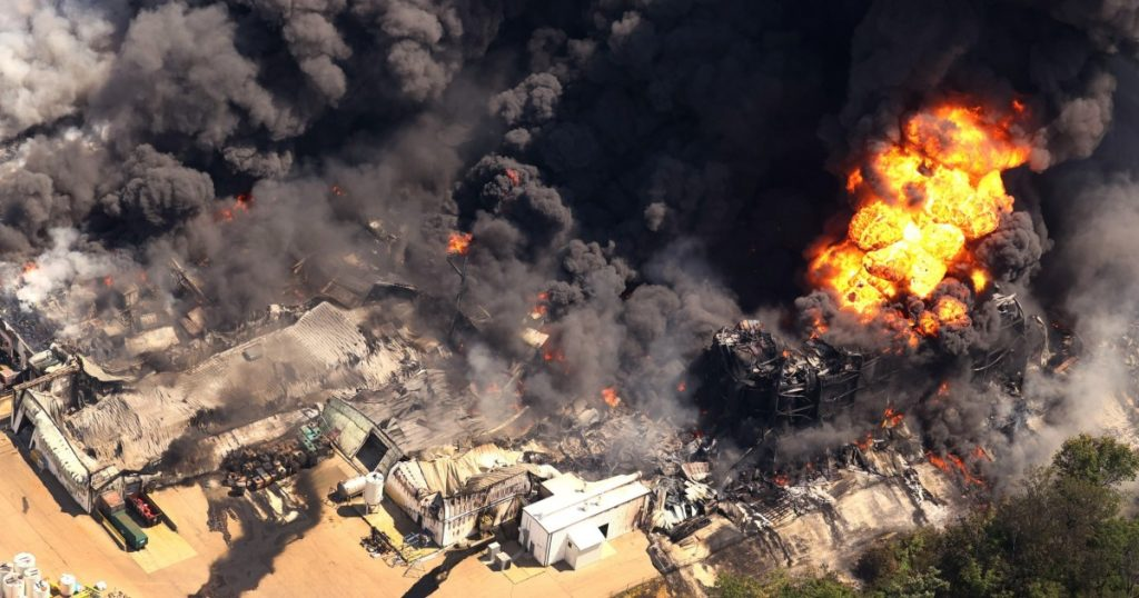 A major fire in a chemical plant in the United States of America: -