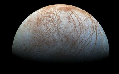 An image of Europa, one of Jupiter's moons, recorded by the Galileo spacecraft in the 1990s.
