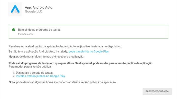 Android Auto Google Beta Program