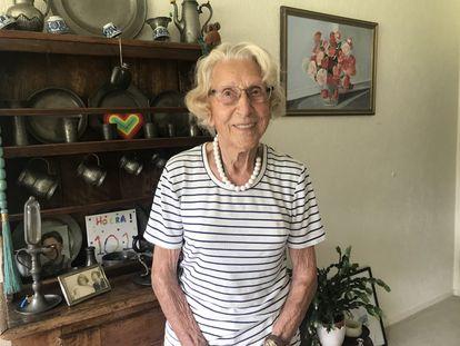 102-year-old Susanne Hoosang van Rimsdijk at her home in Hilversum, central Netherlands.