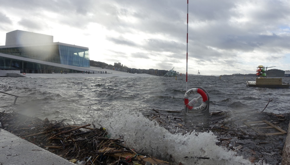 Perilous Perils: In February 2020, the waters rose at the Oslo Opera House.  The Norwegian Meteorological Institute has issued a yellow warning of rising water levels for all of eastern Norway.  The authorities are working to secure the cities of the future.  Photo: Cornelius Pope / NTB
