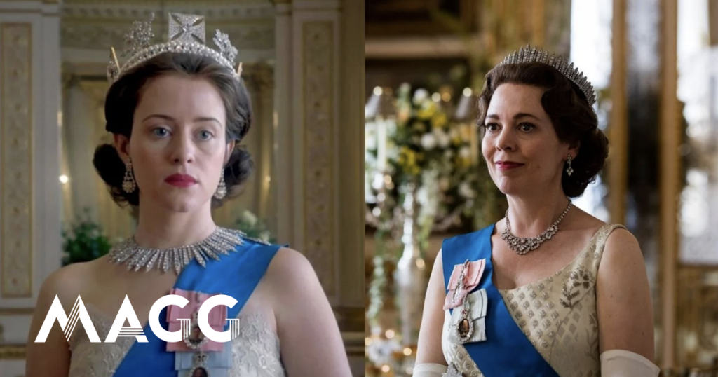 """Bye, Claire and Olivia.  Here is the first photo of the upcoming Queen Elizabeth II in """"The Crown"""" - Culture"""