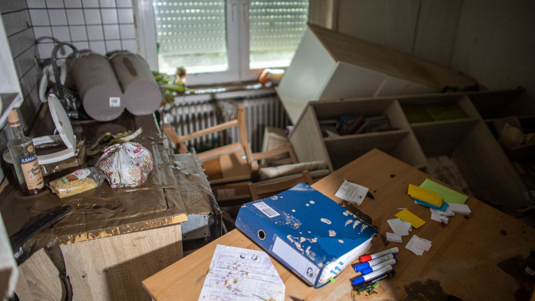 Total Injury: This was the former kitchen of Svenja Harzem.  The apartment was completely damaged after the flood.