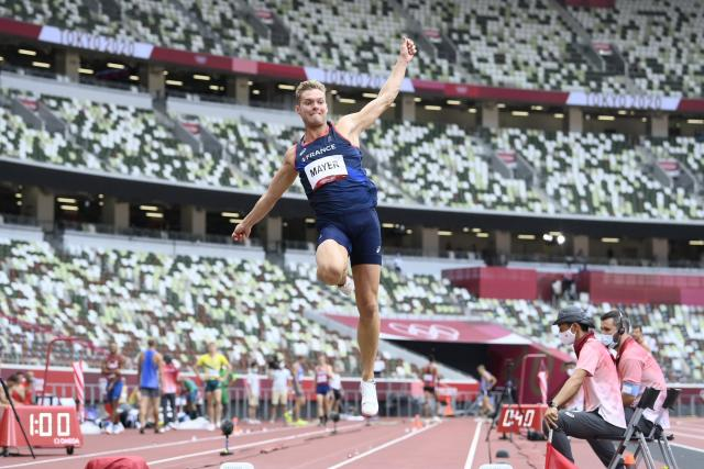 Kevin Meyer was pressured by Damien Warner after the second round of the decathlon at the Tokyo Olympics.