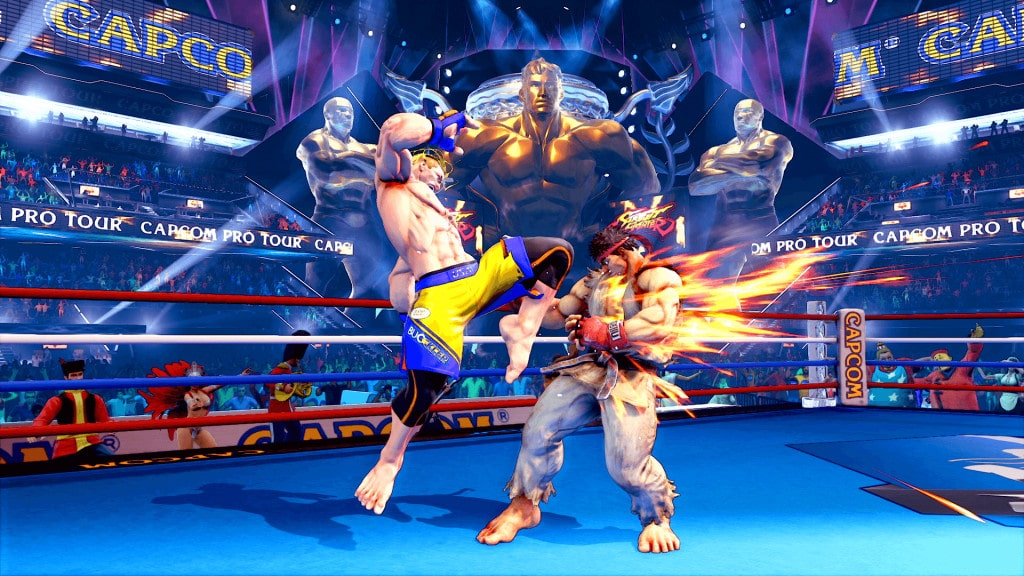 The screenshot of the game shows Luke hitting Rio in the ring.