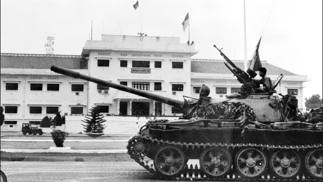 TAKEN CONTROL: North Vietnamese forces took control of Saigon on the day the Americans had to evacuate the city in April 1975.