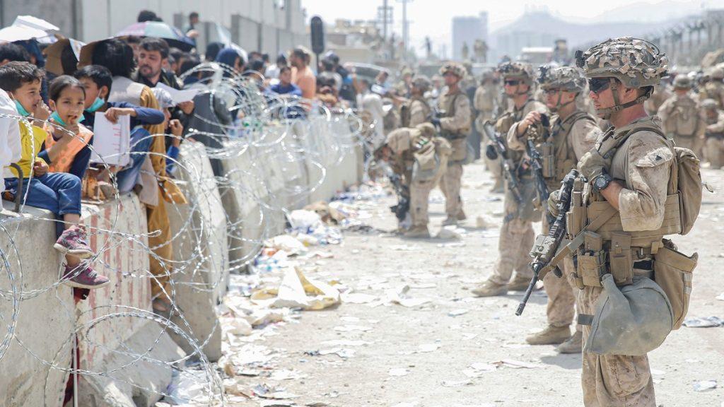 Evacuation at Hamid Karzai International Airport, in Kabul