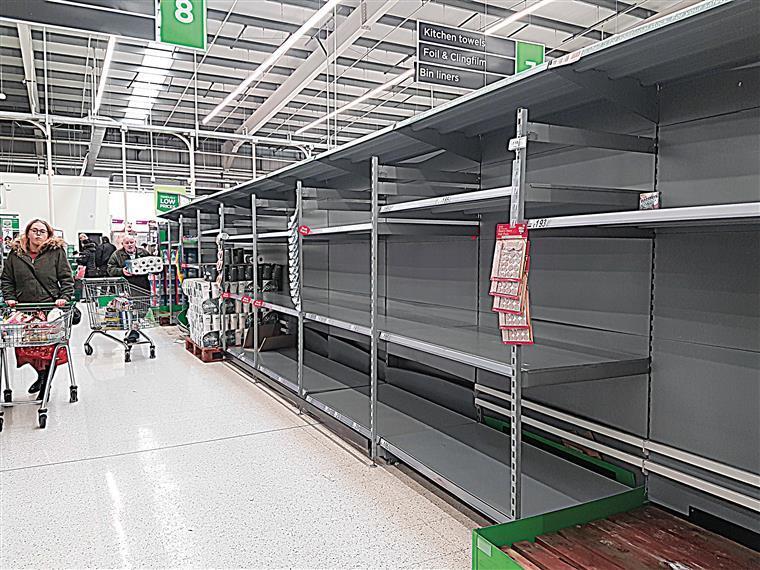 United kingdom.  Supermarket with empty shelves